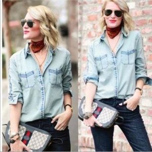 CAbi Bardot chambray button down shirt embroidered